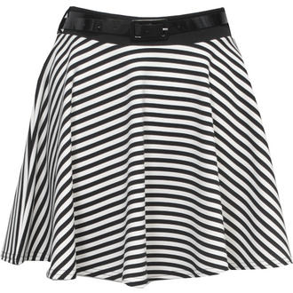 View Item Belted Monochrome Striped Skater Skirt